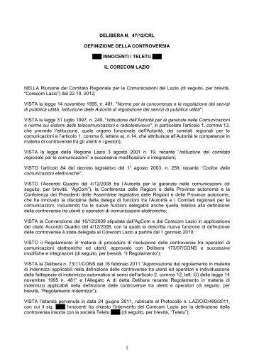 Delibera 47/12/CRL - Corecom Lazio