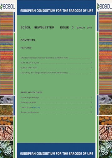ECBOL NEWSLETTER - European Consortium for the Barcode Of Life