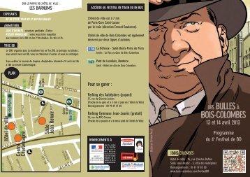 Télécharger le dépliant du programme du festival BD - Bois-Colombes