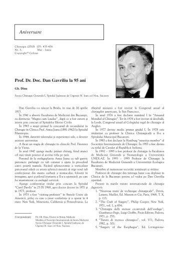 Prof. Dr. Doc. Dan Gavriliu la 95 ani - Chirurgia