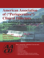 Perioperative - Association of Anesthesia Clinical Directors