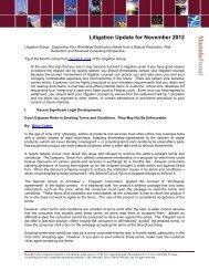 Litigation Update for November 2012 - Masuda Funai