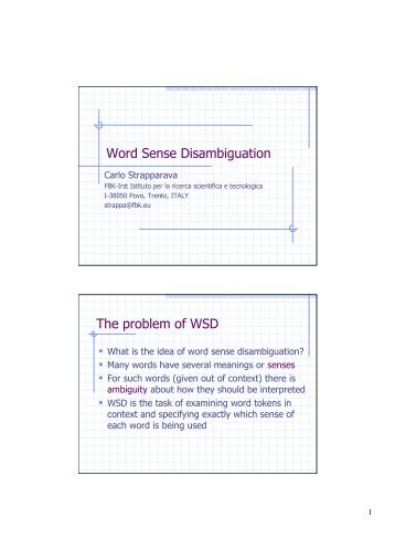 Word Sense Disambiguation The problem of WSD - PEOPLE