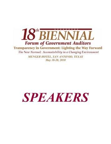 Speaker Bios - Intergovernmental Audit Forums