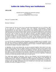 Lettre de Jules Ferry aux instituteurs