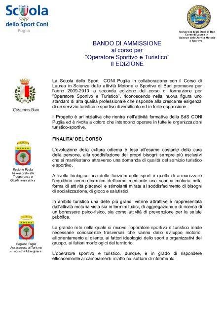 Bando Di Ammissione Per N Coni Puglia