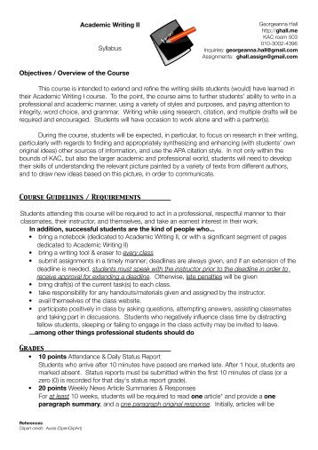 Academic Writing II Syllabus Objectives / Overview of the Course ...