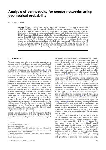 Analysis of connectivity for sensor networks using ... - IEEE Xplore