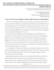 Media Release - Ecumenical Ministries of Oregon