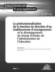 La professionnalisation de la fonction de direction d'un ... - acelf