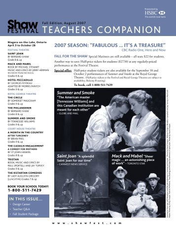 teachers companion - Shaw Festival Theatre