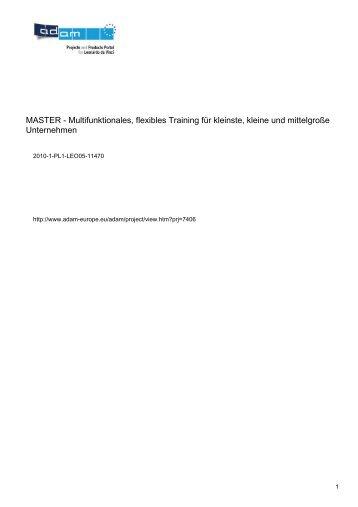 MASTER - Multifunktionales, flexibles Training für kleinste, kleine ...