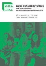 GCSE Mathematics Linear Teachers' Guide - WJEC