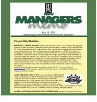 PDPW Managers Memo ~ May 16, 2013 (pdf) - Professional Dairy ...
