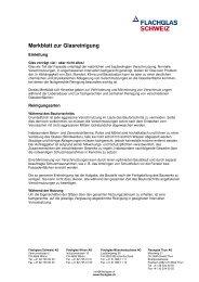 Merkblatt zur Glasreinigung (PDF 86 KB) - Flachglas Schweiz