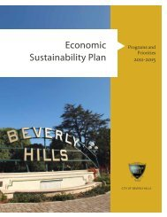 economic sustainability Plan - the City of Beverly Hills