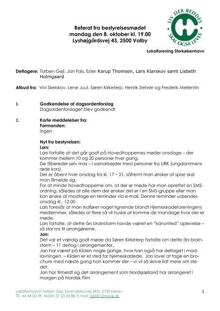 Referat fra bestyrelsesmødet mandag den 8. oktober kl. 19.00 ...