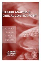 HACCP Courses - UC Davis Extension