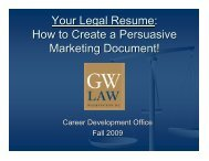 Your Legal Resume - George Washington University Law School