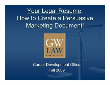 Your Legal Resume   George Washington University Law School  George Washington Resume