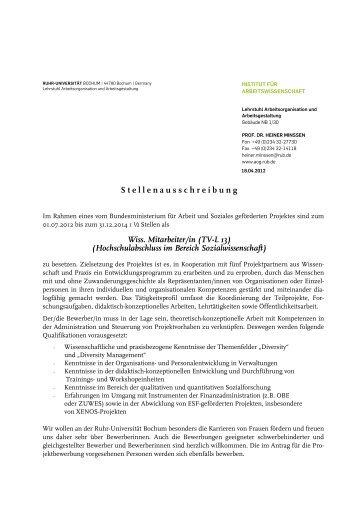 Wiss. Mitarbeiter/in (TV-L 13) - Aog - Ruhr-Universität Bochum