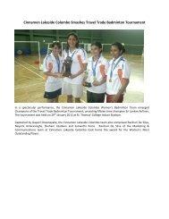 Cinnamon Lakeside Colombo Smashes Travel Trade Badminton ...
