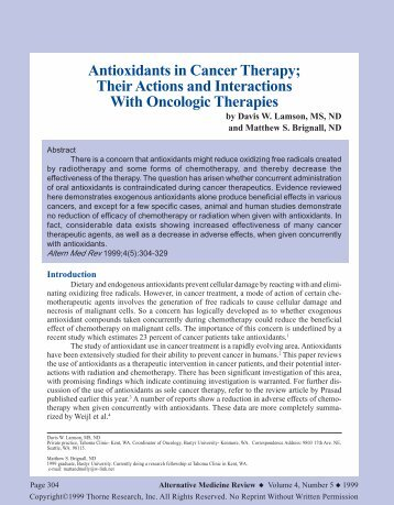 Antioxidants in Cancer Therapy - Thorne Research