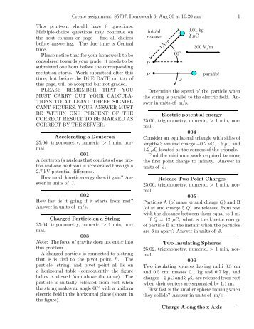 Create assignment, 85707, Homework 6, Aug 30 at ... - Web Physics