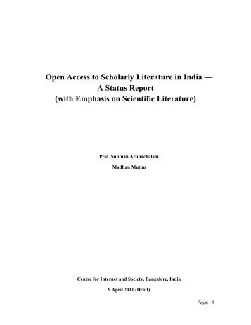 Open Access to Scholarly Literature in India - Centre for Internet and ...