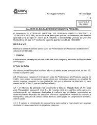 VALORES DA BOLSA DE PRODUTIVIDADE EM PESQUISA - CNPq