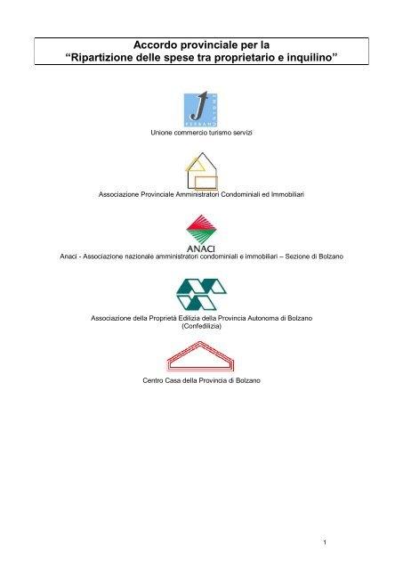Accordo Provinciale Per La Ripartizione Delle Spese Tra