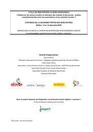 Synthèse des rencontres - Cités Unies France