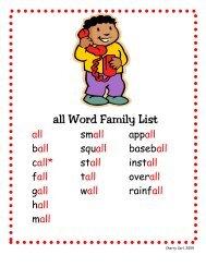 all Word Family List