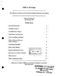 V14 1/2 - Ontario Health Libraries Association