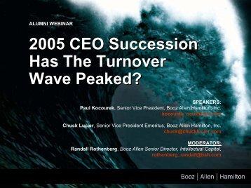 Alumni Webinar 2005 CEO Succession slides - Booz Allen Hamilton