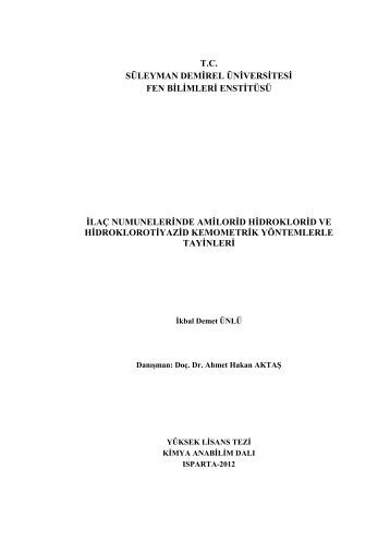 tc süleyman demirel üniversitesi fen bilimleri enstitüsü ilaç ...