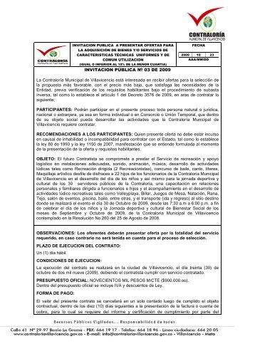 invitacion publica - Contraloría Municipal de Villavicencio