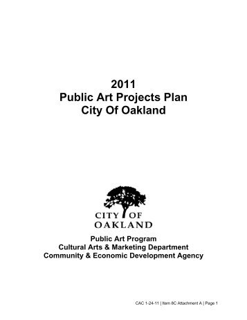 2011 Public Art Projects Plan City Of Oakland