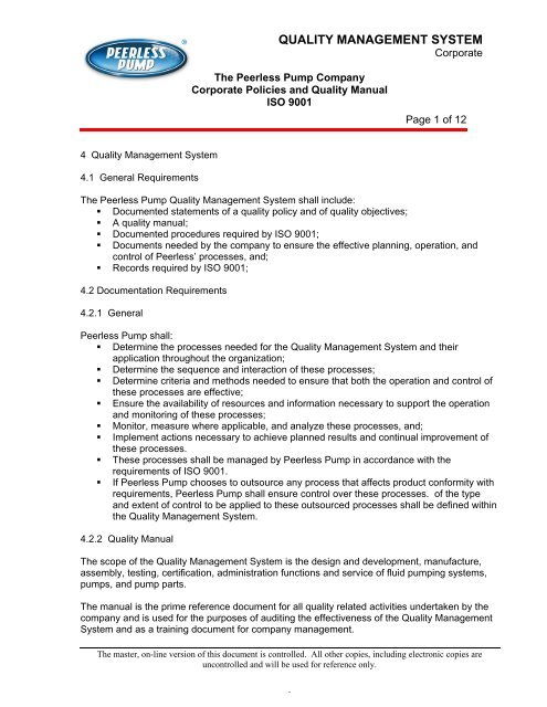 ISO 9001 Quality Manual - Peerless Pump