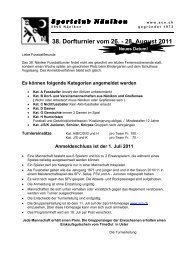 38. Dorfturnier vom 26. - 28. August 2011 Sportclub Nänikon ...