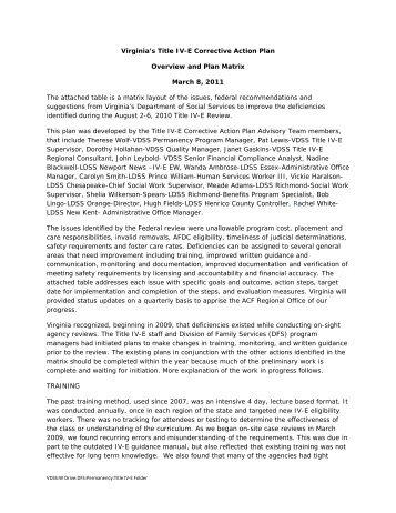 Virginia's Title IV-E Corrective Action Plan Overview and Plan Matrix ...