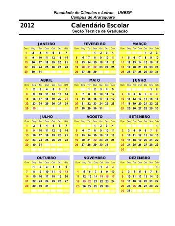 2012 Calendário Escolar - Unesp