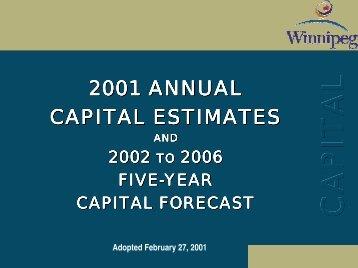 2001 Adopted Capital Budget - City of Winnipeg