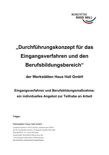 U201eDurchführungskonzept Für Das Eingangsverfahren Und ...   Haus Hall