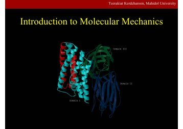 Introduction to Molecular Mechanics - Mahidol University