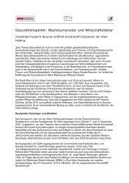 Gesundheitspolitik: Wachstumsmotor und ... - Wien Holding