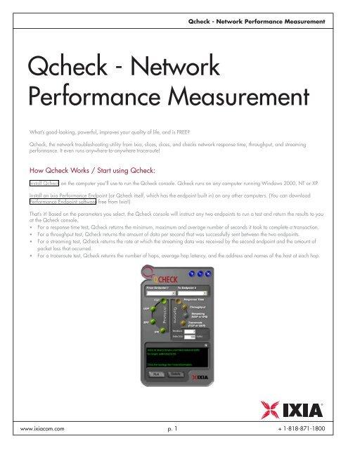 Qcheck - Network Performance Measurement - Ixia