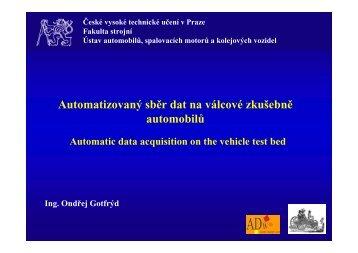 Automatizovaný sběr dat na válcové zkušebně automobilů