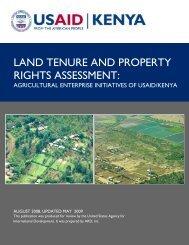 Agricultural Enterprise Initiatives of USAID/Kenya - Land Tenure and ...