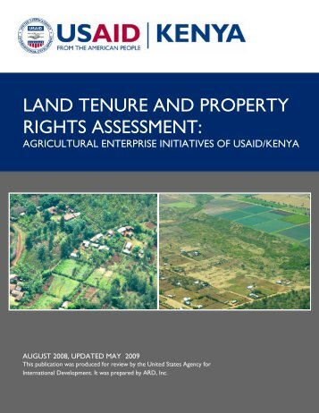 Agricultural Enterprise Initiatives of USAID/Kenya - Land Tenure and ...